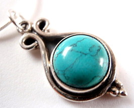 Dripping Turquoise Sphere 925 Sterling Silver P... - $13.03