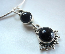 Black Onyx Tribal Style 925 Sterling Silver Necklace - $18.10
