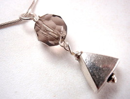New Faceted Smokey Quartz & Triangle 925 Sterling Silver Pendant - $7.36