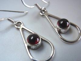 Red Garnet Sphere in Hoop 925 Silver Dangle Earrings Corona Sun Jewelry - $13.85