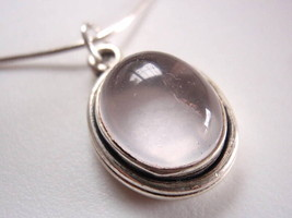 New Rose Quartz Ellipse Sterling Silver Pendant... - $9.25