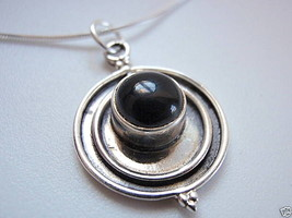 New 2ct Black Onyx Sphere 925 Sterling Silver Necklace - €20,38 EUR