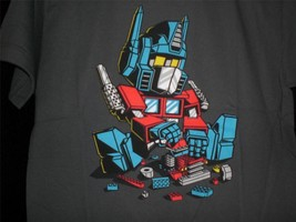 "TeeFury Transformers YOUTH XL ""Autobots"" Lego Mash Up Shirt CHARCOAL - $11.00"