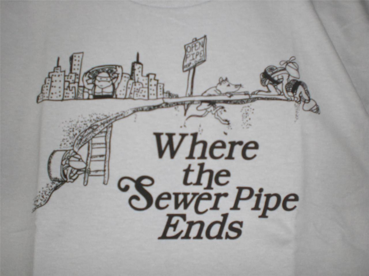 "TeeFury Teenage YOUTH XL ""Where the Sewer Pipe Ends"" Mutant Ninja Turtles GRAY"