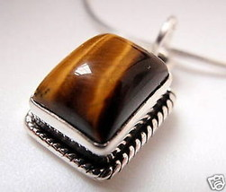 Tiger Eye Rectangle Sterling Silver Necklace India - $326,45 MXN
