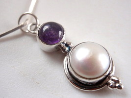 Pearl and Amethyst Round Cabochon 925 Sterling Silver Pendant New - $17.91
