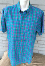 Ralph Lauren Chaps Mens Blue Green Plaid Large Button Shirt Cotton Blend - $12.83
