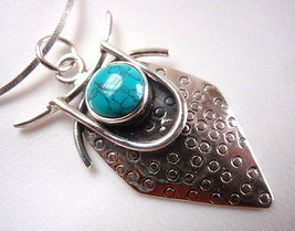 Unique Turquoise Hammered Tribal Style 925 Sterling Silver Necklace New - $30.83