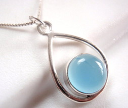 Chalcedony Globe in Hoop Pendant 925 Sterling Silver Imported from India - $15.83