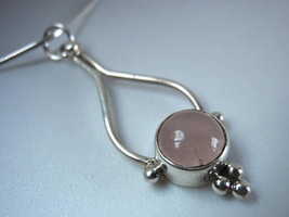 New Rose Quartz 925 Sterling Silver Necklace India New - €17,21 EUR