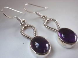 Amethyst Rope Style Hoop Silver Dangle Earrings New - $20.26