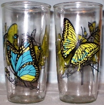 Sour Cream Glasses Ball Blue & Green Butterflies - $15.00