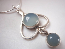 Chalcedony in Heart 925 Sterling Silver Necklace New - €12,50 EUR