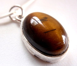 Tiger Eye Lovely Oval 925 Sterling Silver Necklace High Quality Sterling... - $364,88 MXN