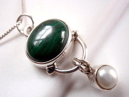 Malachite and Dangling Freshwater Pearl Necklace 925 Sterling Silver New... - $20.74