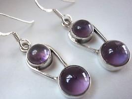 Dbl-Gem in Hoop AMETHYST 925 Silver Dangle Earrings - $17.97
