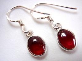 Garnet Regular Ovals 925 Sterling Silver Dangle Earrings New Oval Ellipse - $10.56