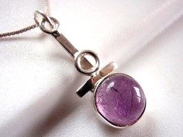 Purple Amethyst Necklace 925 Sterling Silver Oval Corona Sun Jewelry - $15.85