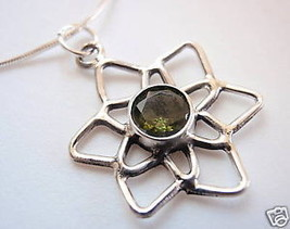 Faceted Peridot Star 925 Sterling Silver Necklace Corona Sun Jewelry Gre... - $348,30 MXN