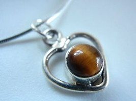 New Tiger Eye Sphere in Heart 925 Silver Pendan... - $12.88