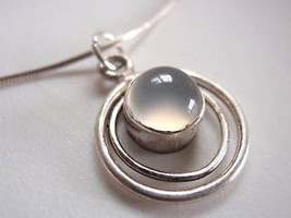 New Round Chalcedony in Hoop 925 Silver Necklace India - €16,45 EUR