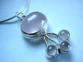 Rose Quartz 925 Silver Necklace Corona Sun Jewelry Pink New - €14,10 EUR