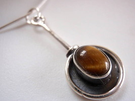 New Tiger Eye Oval on Stem 925 Silver Necklace India - €15,41 EUR