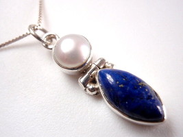 Genuine Lapis Lazuli and Cultured Pearl Necklace 925 Sterling Silver Mar... - $14.38