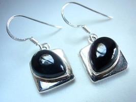 Black Onyx Sideways Teardrop Dangling 925 Sterling Silver Dangle Earring... - $14.84