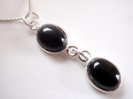 Black Onyx Double Oval Necklace 925 Sterling Silver Imported from India New - $14.97