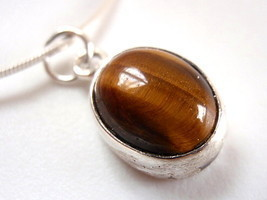 Tiger Eye Basic Oval 925 Sterling Silver Necklace New - $21.44