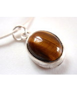Tiger Eye Basic Oval 925 Sterling Silver Necklace New - €15,64 EUR