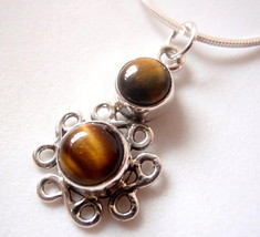 Tiger Eye Infinity 925 Sterling Silver Pendant Symbolizes Forever Love New - $7.82