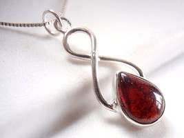 Garnet Necklace 925 Sterling Silver w/ Infinity Hoop Signifies Eternal Love - $20.23
