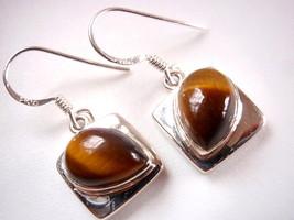 Tiger Eye Sideways Teardrop Dangling 925 Sterling Silver Dangle Earrings... - $14.84