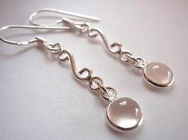 Rose Quartz 925 Sterling Silver Dangle Earrings Pink Corona Sun Jewelry - $15.75