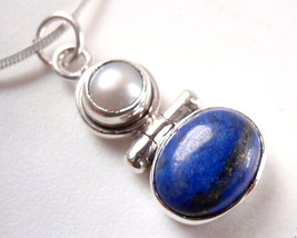 Genuine Pearl Lapis Lazuli Two Gem Stone 925 Sterling Silver Necklace Ne... - $23.93