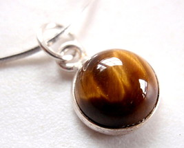 Very Small Tiger Eye 925 Sterling Silver Pendant New Brown - $9.85