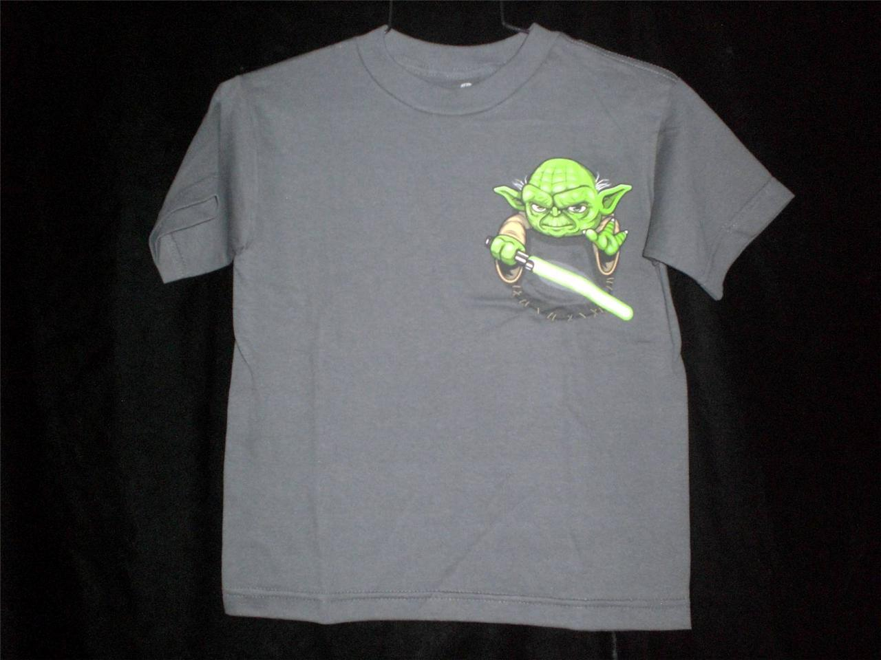 "TeeFury Star Wars YOUTH MEDUM ""Pocket Jedi"" Yoda Tribute Shirt CHARCOAL"