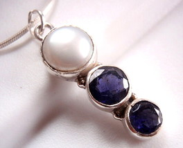 Genuine Freshwater Pearl Faceted Iolite Necklace Triple Gem 925 Sterling... - $19.32