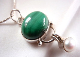 Genuine Pearl and Malachite Necklace 925 Sterling Silver Dangling Pearl ... - $22.72