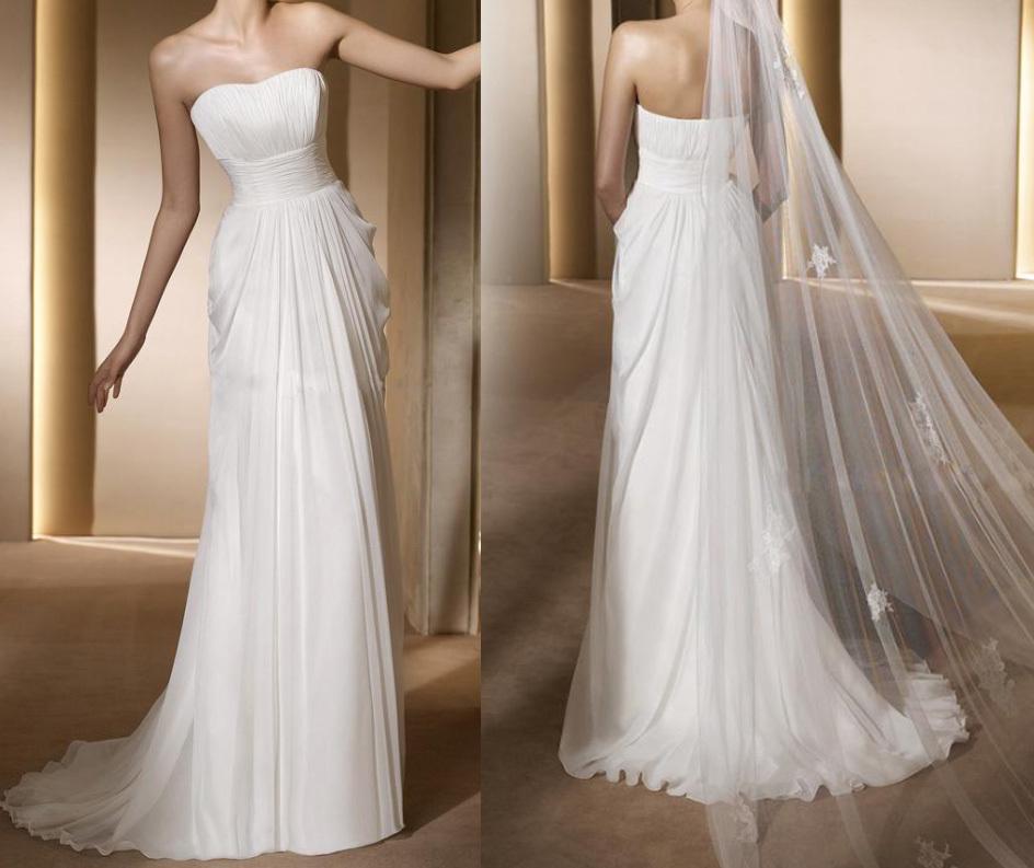 Simple ivory long strapless empire waist chiffon wedding for Simple ivory wedding dresses