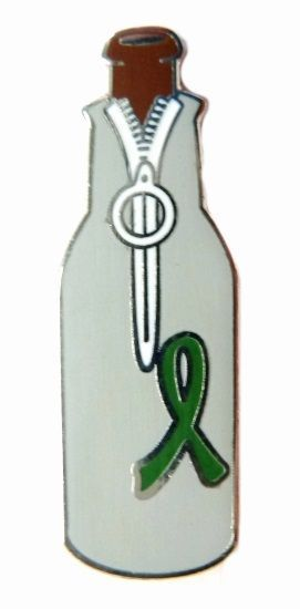 Green Awareness Ribbon Pin Beer Bottle Koozie Huggie Lapel Collar Hat Tac New image 6