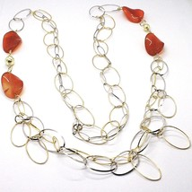 925 Silver Necklace, Carnelian Oval Crimped, Double Chain, 110 cm long image 2