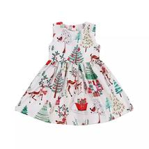 Toddler baby girls Christmas button geometry dress - $10.56