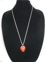 New Betsey Johnson Red Rhinestone Strawberry Pendant on long Chain - $24.50