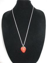 New Betsey Johnson Red Rhinestone Strawberry Pendant on long Chain - $24.50