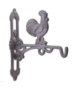 "Crowing Rooster Cast Iron Plant Hanger Farm Flower Basket Hook 10.75"" Deep - $17.99"