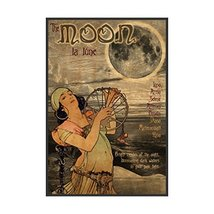 """Vintage Mucha Style The Moon - Art Print - 19"""" tall x 13"""" wide - $20.00"""