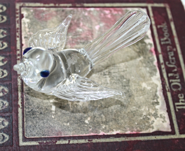 Vintage Art Glass Clear Bird with Blue Eyes Figurine